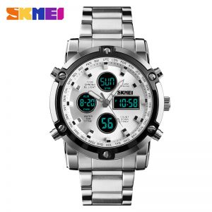 Analog digital men wristwatch
